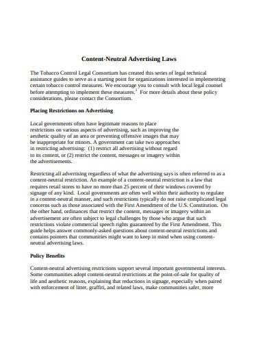 content neutral advertising laws