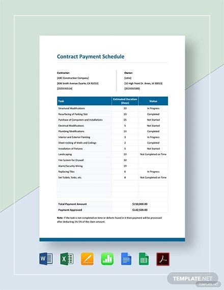 contract payment schedule 2