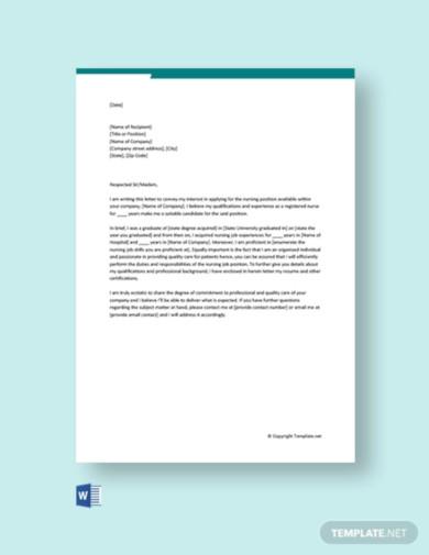 cover letter for nursing job application template
