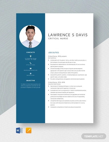 critical nurse resume template