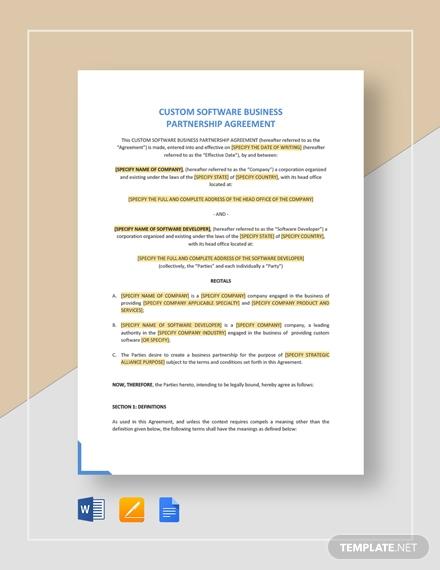 custom software business partnership agreement