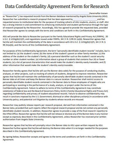 data research confidentiality agreement template
