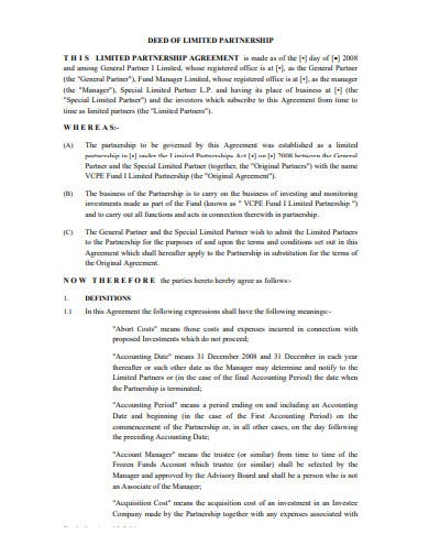 deed investment partnership agreement template