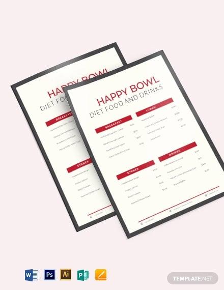 diet menu planner template