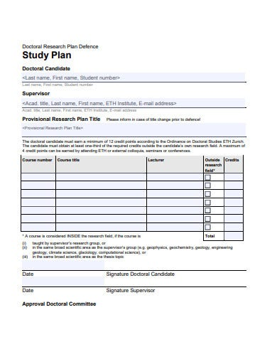 doctor research study plan template