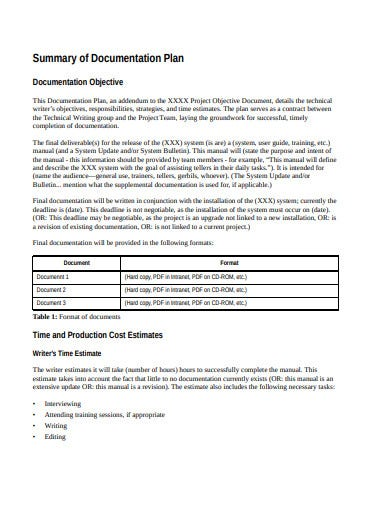 documentation plan in pdf