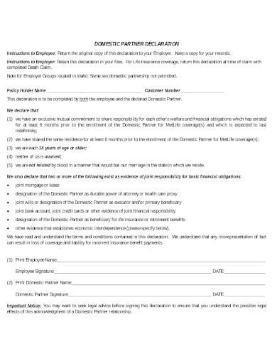 domestic partner declaration template