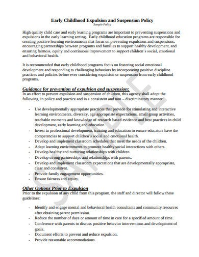 early childhood suspension and expulsion policy