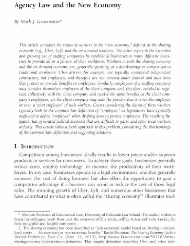 economy agency law