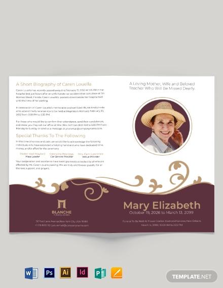editable loving memory funeral bi fold brochure template