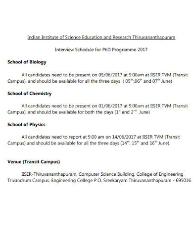 education research interview schedule