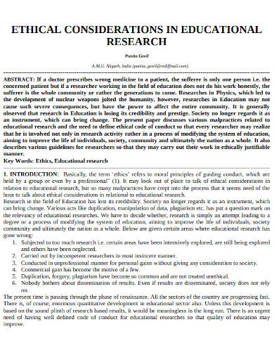 educational research consideration ethics