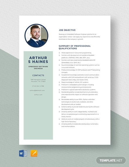 embedded software engineer resume template