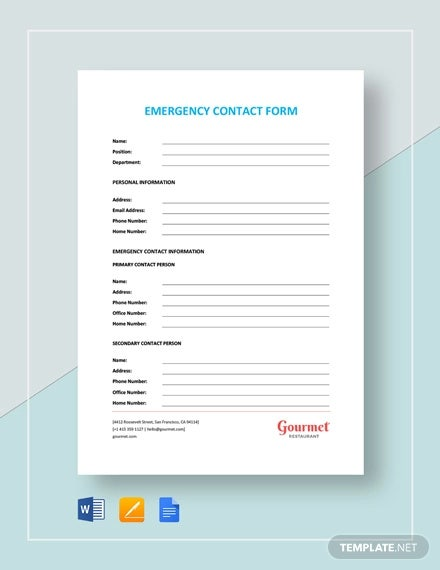 12 Emergency Contact Forms Pdf Doc