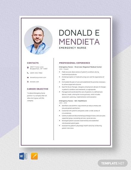 emergency nurse resume template