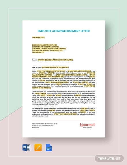 employee acknowledgement letter template