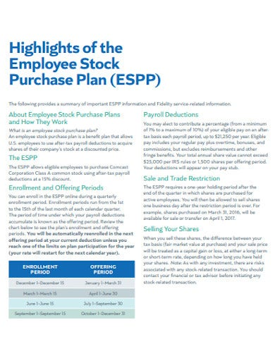 employee stock purchase plan highlights