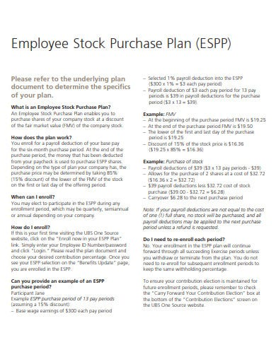 employee stock purchase plan template