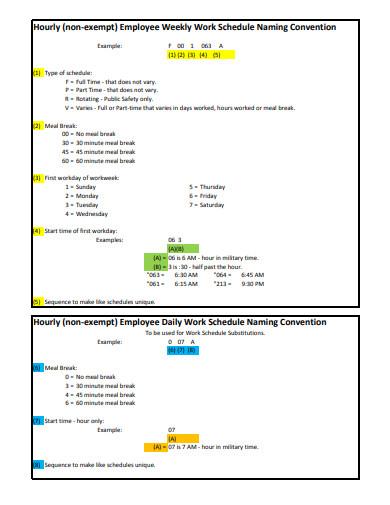 employee weekly wor schedule template
