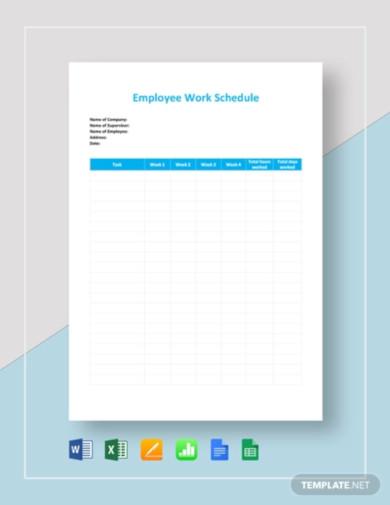 employee work schedule template