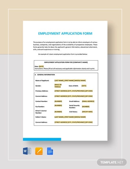 employment application form template1