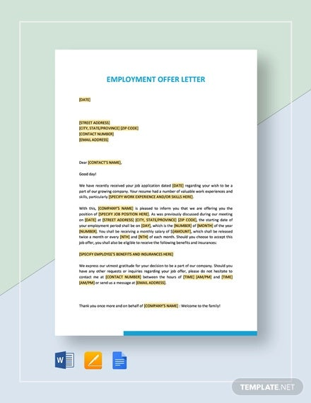 Employment Letter 6 Free Sample