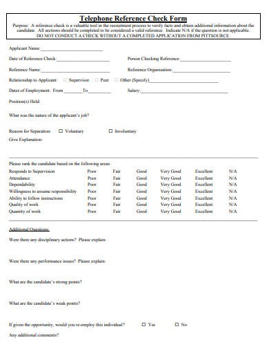 employment telephone reference check form template