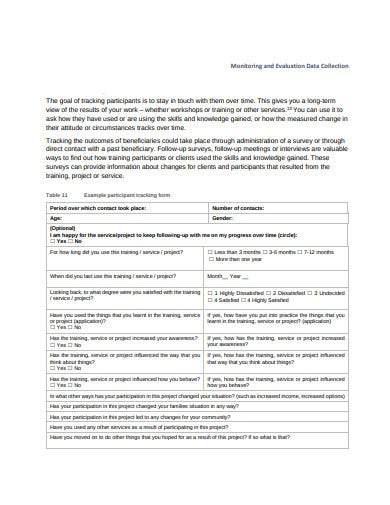 evaluation participation tracking form sheet