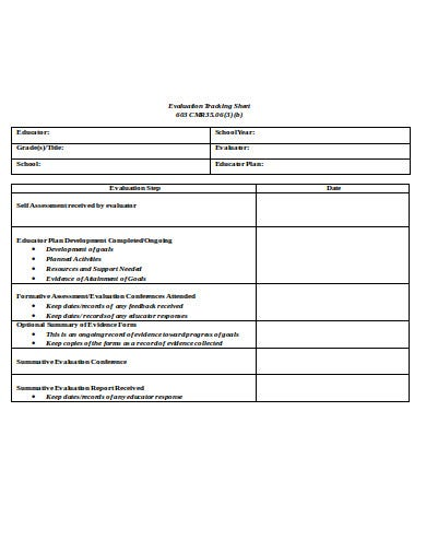 evaluation tracking sheet template
