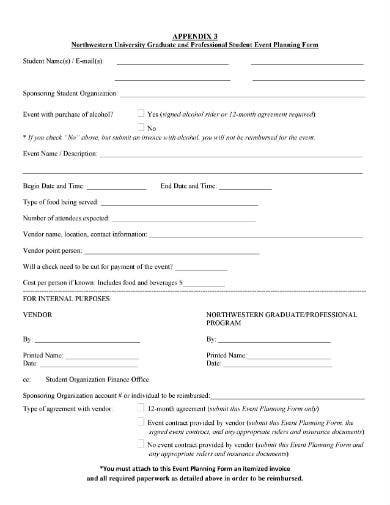 event planning agreement form