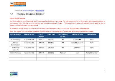 example insurance register