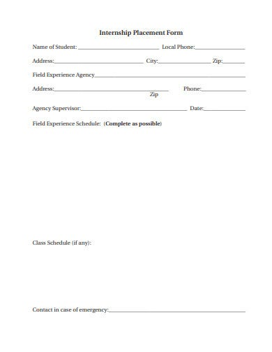 exercise internship placement form