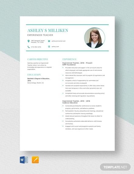 experienced teacher resume template