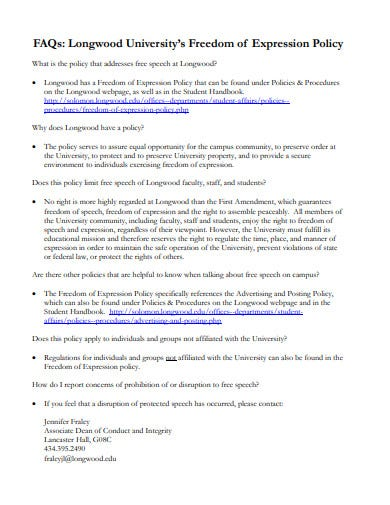 faqs freedom of expression policy template