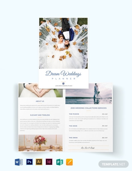 fall wedding planner bi fold half fold brochure template
