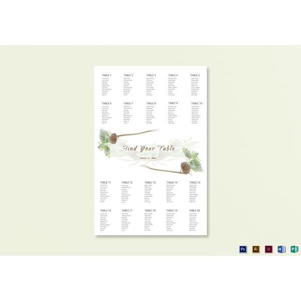 fall wedding seating chart template