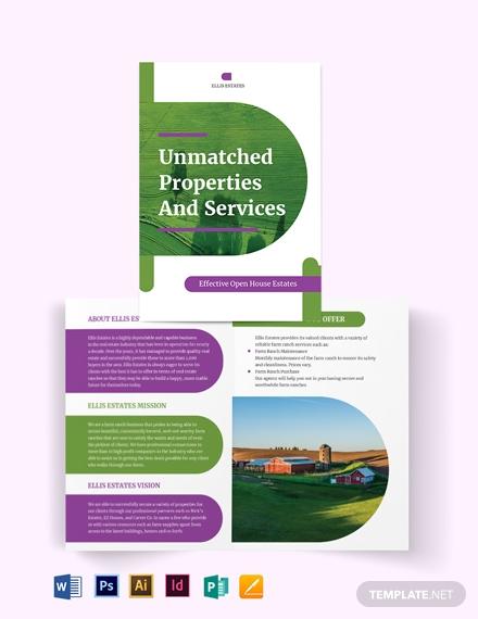 farm ranch bi fold brochure