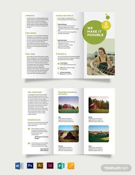 farm ranch sale tri fold brochure templat