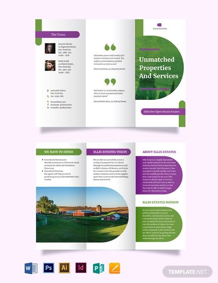 farm ranch tri fold brochure