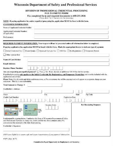 fax payment form