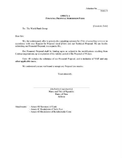 financial proposal submission form