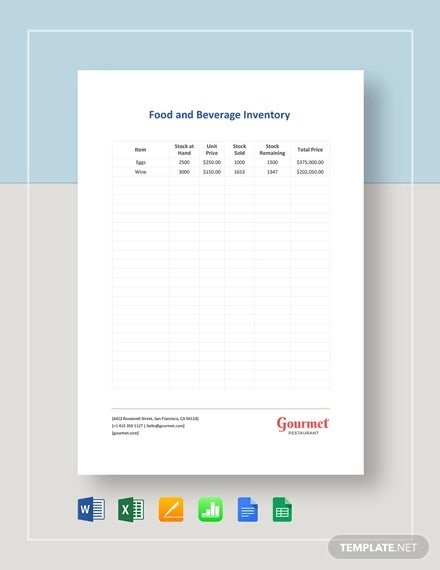 food beverage inventory template