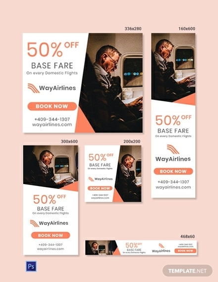 free airlines banner design template 440x570 1