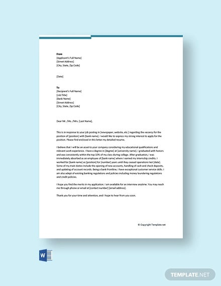 free banking cover letter