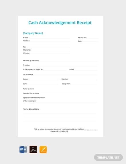 free cash acknowledgement receipt template