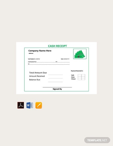 free cash receipt template