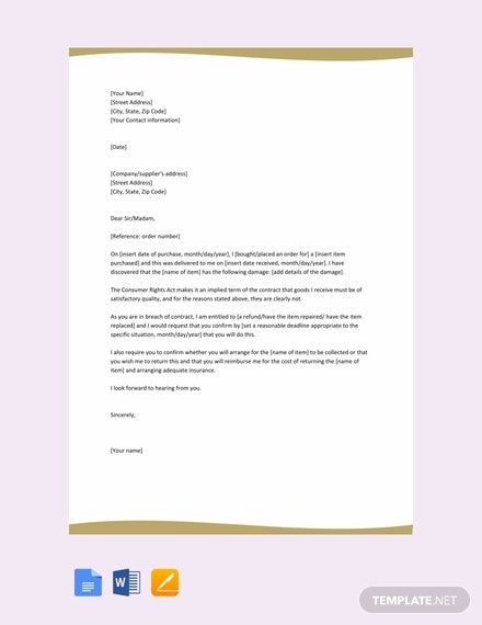 Free-Claim-Letter-for-Damaged-Goods Free Template For Loss Of Insurance Letter on