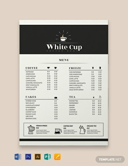 free coffee menu template