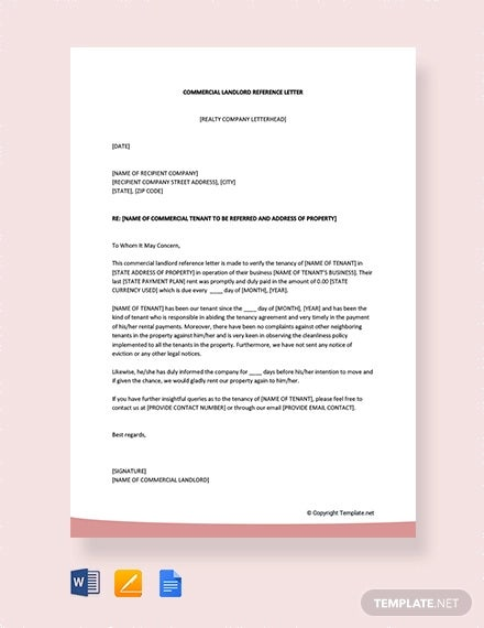 free commercial landlord reference letter