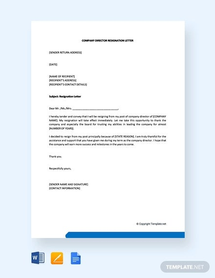 free company director resignation letter